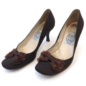Emma Hope Brown Square Toed Heels Bow Detail